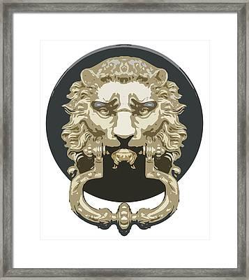 Lion Knocker Framed Print by Greg Joens