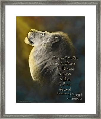 Lion On The Throne In Aqua Framed Print by Constance Woods