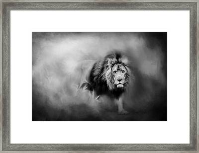 Lion - Pride Of Africa 3 - Tribute To Cecil In Black And White Framed Print by Michelle Wrighton