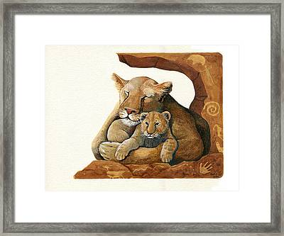 Lion - Protect Our Children Painting Framed Print by Linda Apple