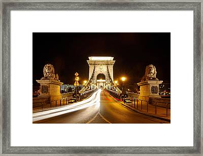Lion Sculptures Of The Chain Bridge Framed Print by George Oze