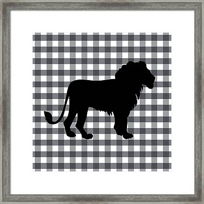 Lion Silhouette Framed Print by Linda Woods