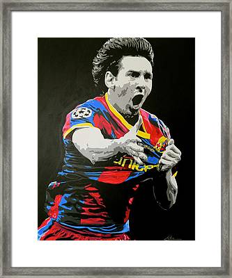 Lionel Messi Barcelona Framed Print by Scott Strachan