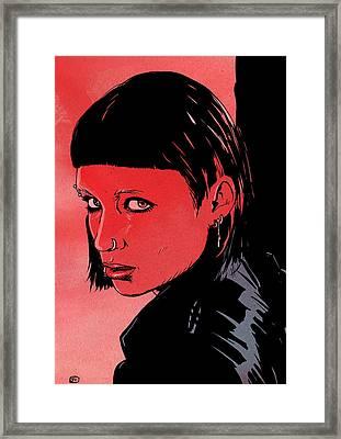 Lisbeth Salander Mara Rooney Framed Print by Giuseppe Cristiano