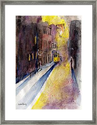 Lisbon Tram Framed Print by Callan Percy