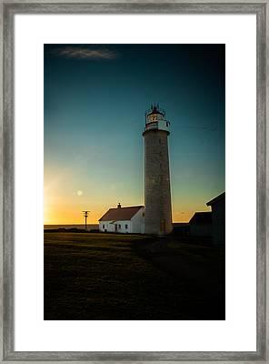Lista Fyr At Sunset Framed Print by Mirra Photography