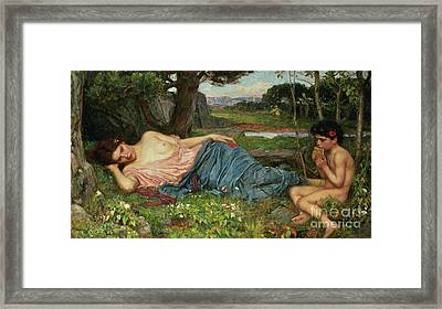 Listen To My Sweet Pipings Framed Print by John William Waterhouse