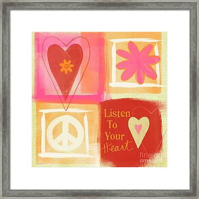 Listen To Your Heart Framed Print by Linda Woods