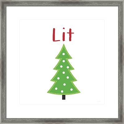 Lit Christmas Tree- Art By Linda Woods Framed Print by Linda Woods