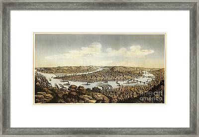 Lithograph Showing Bird's-eye View Of The City Of Pittsburgh Framed Print by Celestial Images