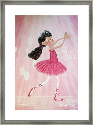 Little Ballerina With Bible Verse Framed Print by Cheryl Rose