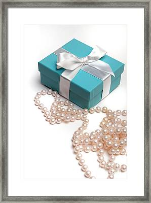 Little Blue Gift Box And Pearls Framed Print by Amy Cicconi