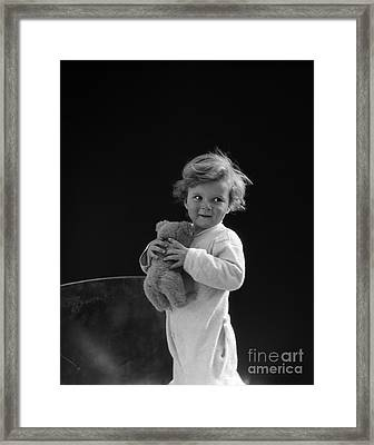 Little Boy With Teddy Bear, C.1930s Framed Print by H. Armstrong Roberts/ClassicStock