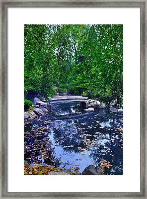 Little Bridge - Japanese Garden Framed Print by Bill Cannon