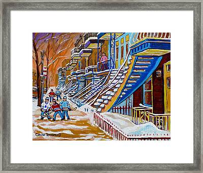 Little Canadian Boys Play Street Hockey Near Winding Yellow Staircase Montreal Winter Scene Art Framed Print by Carole Spandau