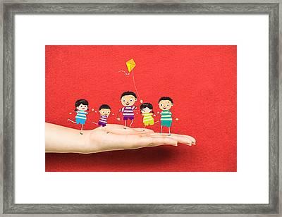 Little Children Kites On A Hand Framed Print by Dai Trinh Huu
