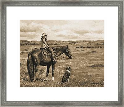 Little Cowgirl On Cattle Horse In Sepia Framed Print by Crista Forest