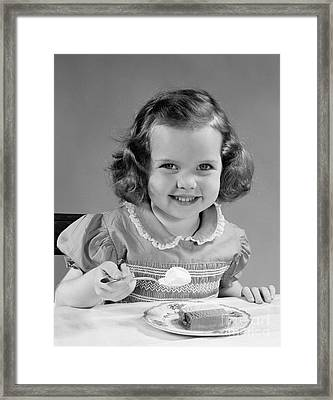 Little Girl Eating Ice Cream, C.1950s Framed Print by H. Armstrong Roberts/ClassicStock