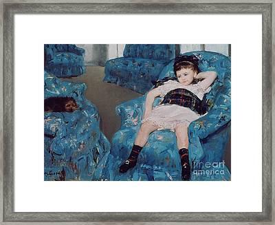 Little Girl In A Blue Armchair Framed Print by Mary Stevenson Cassatt
