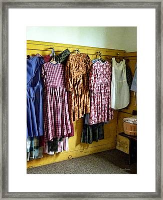 Little Girl's Gathered Dresses Framed Print by Susan Savad