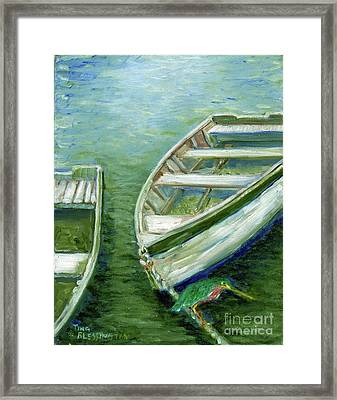Little Green Egret On Bateau Framed Print by Doris Blessington