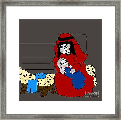 Little Mary And Baby Jesus In Red And Blue Framed Print by Sonya Chalmers