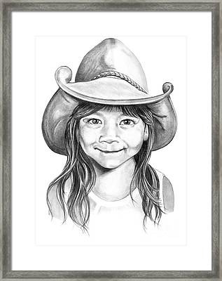 Cowboy Pencil Drawings Framed Print featuring the drawing Little Maya by Murphy Elliott