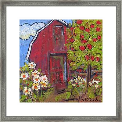 Little Red Barn Framed Print by Blenda Studio