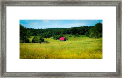 Little Red Barn Framed Print by Karen Wiles