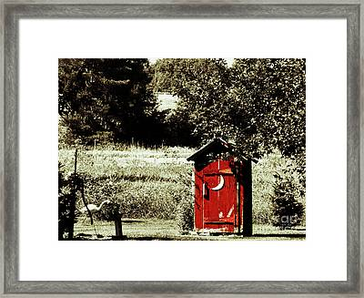 Little Red Outhouse Framed Print by Ms Judi