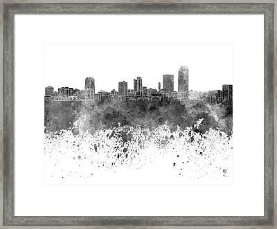Little Rock Skyline In Black Watercolor On White Background Framed Print by Pablo Romero