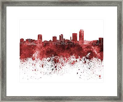 Little Rock Skyline In Red Watercolor On White Background Framed Print by Pablo Romero