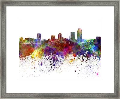 Little Rock Skyline In Watercolor On White Background Framed Print by Pablo Romero