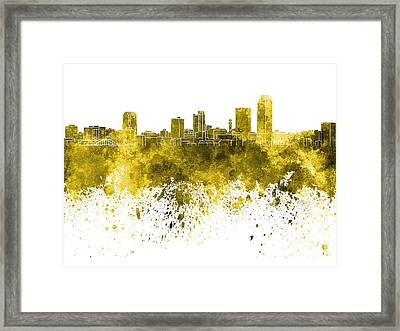 Little Rock Skyline In Yellow Watercolor On White Background Framed Print by Pablo Romero