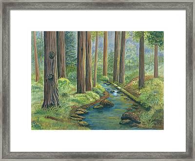 Little Stream In The Woods Framed Print by Vidyut Singhal