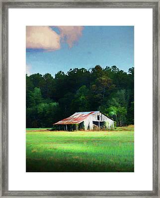 Little White Barn Framed Print by Marvin Spates