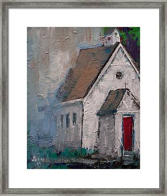Little White Church On The Corner Christian Painting  Framed Print by Gray Artus