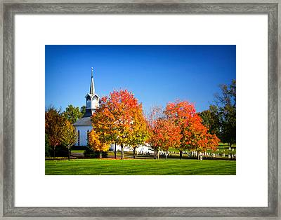 Little Zion Church In The Fall Framed Print by Carolyn Derstine