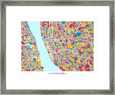 Liverpool England City Street Map Framed Print by Michael Tompsett