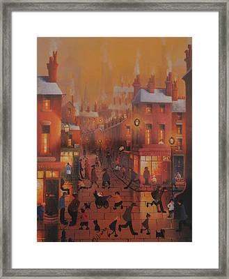 Liverpool Street Scene.home Before Dark Framed Print by Raymond Alfred Gilronan