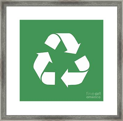 Living Green, White Reduce, Reuse, Recycle, Repurpose Framed Print by Tina Lavoie