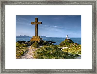 Llanddwyn Cross Framed Print by Adrian Evans