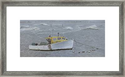 Lobster Boat In Kettle Cove Framed Print by Dominic White