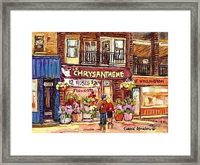 Local Flower Shop Le Chrysantheme Verdun Montreal Summer City Scene Canadian Art Carole Spandau      Framed Print by Carole Spandau