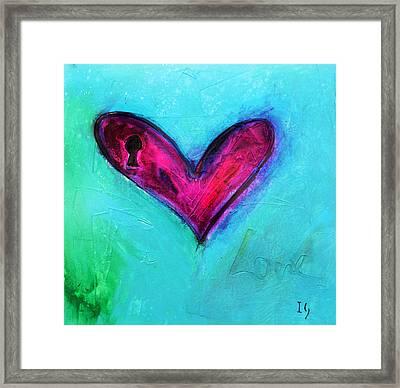 Locked Pink Heart Framed Print by Ivan Guaderrama