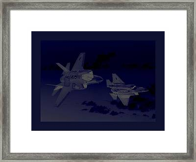 Lockheed Martin F-35 Joint Strike Fighters During Joint  Military Exercises In A Forward Area Border Framed Print by L Brown
