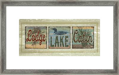 Lodge Lake Cabin Sign Framed Print by Joe Low