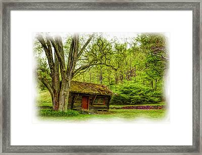 Log Cabin In The Woods Framed Print by Geraldine Scull