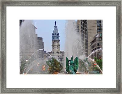 Logan Circle Fountain With City Hall In Backround 2 Framed Print by Bill Cannon
