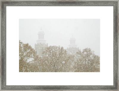 Logan Temple In Snow Framed Print by Greg Collins